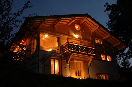 Outside of the Chalet by night